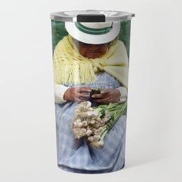 Vegetable and Fruit vendor, Cuenca, Ecuador Travel Mug