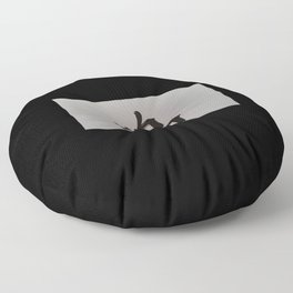 Chinese zodiac sign Rooster black Floor Pillow