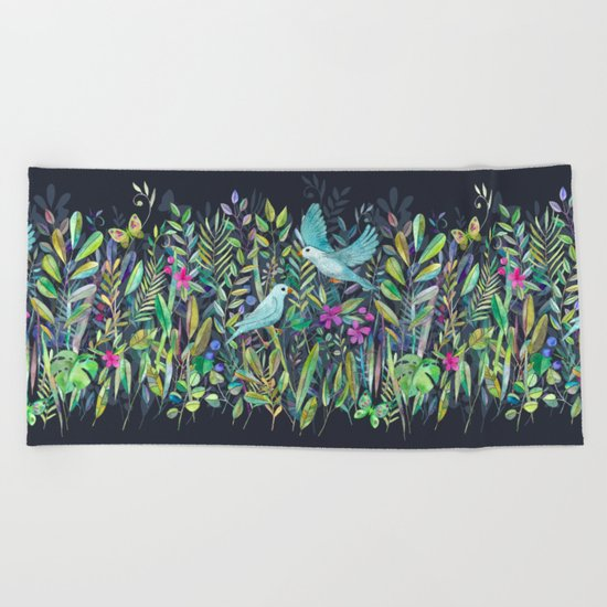Little Garden Birds in Watercolor Beach Towel