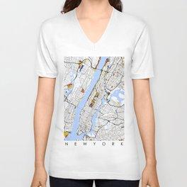 New York City Map United States Mondrian color Unisex V-Neck