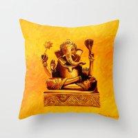 ganesha Throw Pillows featuring Ganesha by Ninamelusina