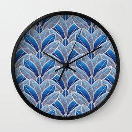 Art nouveau leaf pattern blue Wall Clock