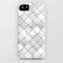 Faux Patchwork Quilting - White & Silver Pattern iPhone Case