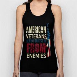 AMERICAN VETERANS ALWAYS PROTECT US FROM ENEMIES Unisex Tank Top