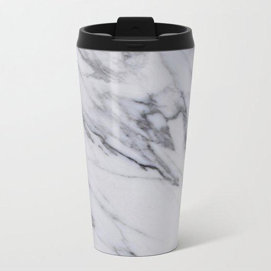 Marble - Black and White Gray Swirled Marble Design Metal Travel Mug