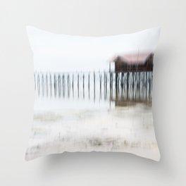 House at the beach   Fine Art mood photography Throw Pillow