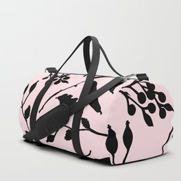 Hand painted black blush pink abstract floral Duffle Bag