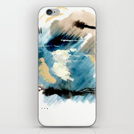 You are an Ocean - abstract India Ink & Acrylic in blue, gray, brown, black and white iPhone Skin