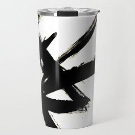 Brushstroke 3 - a simple black and white ink design Travel Mug