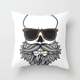 Bearded Skull Throw Pillow