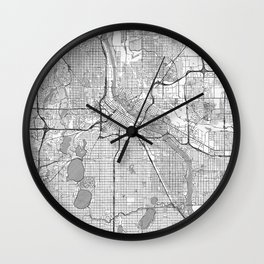 Minneapolis Map Line Wall Clock
