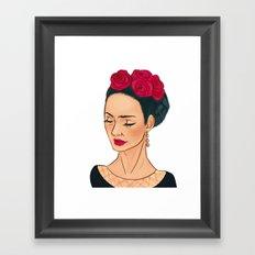 Frida Khalo Illustration by Patricia Falls Framed Art Print