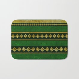 Celtic Knot Decorative Gold and Green pattern Bath Mat