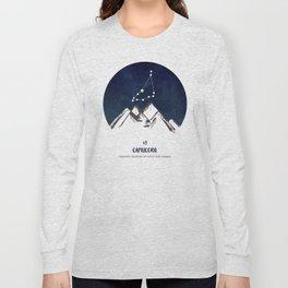 Astrology Capricorn Zodiac Horoscope Constellation Star Sign Watercolor Poster Wall Art Long Sleeve T-shirt