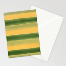 Green and Yellow Gouache Stripes Painted Pattern Stationery Cards