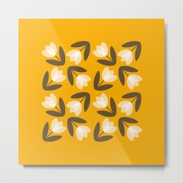 Scattered Tulips in Mustard Yellow Metal Print