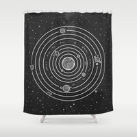 solar system Shower Curtains featuring SOLAR SYSTEM by Mírë