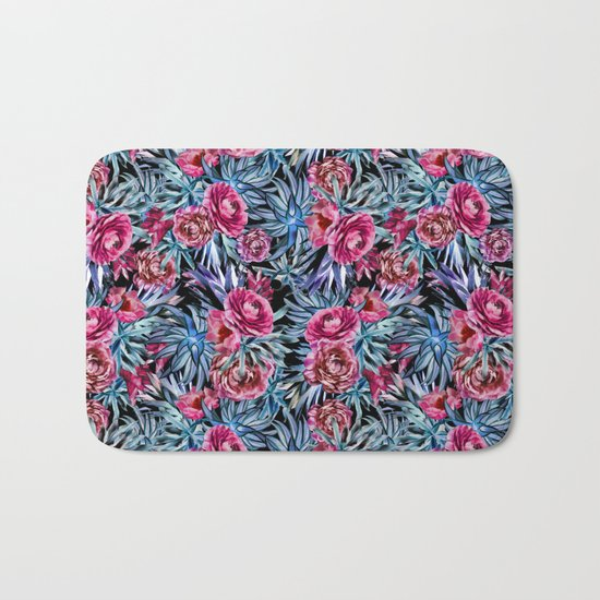 The floral pattern . pink and blue Bath Mat