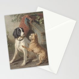 Conradijn Cunaeus - Two dogs in front of a doghouse (1838 - 1895) Stationery Cards