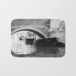 the boats sit quietly in the Venice Canals; black and white photography Bath Mat