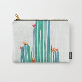 Spring Cactus Blossoms with Indigo Terra Cotta Carry-All Pouch