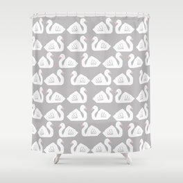 Swan minimal pattern print grey and white bird illustration swans nursery decor Shower Curtain