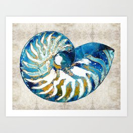 Beachy Art - Nautilus Shell Bleu - Sharon Cummings Art Print