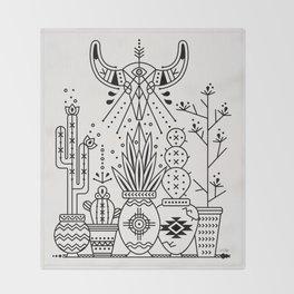 Santa Fe Garden – Black Ink Throw Blanket