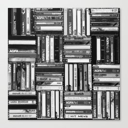 Music Cassette Stacks - Black and White - Something Nostalgic IV #decor #society6 #buyart Canvas Print