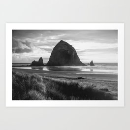 Cannon Beach Sunset - Black and White Nature Photography Art Print