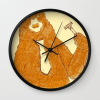 office Wall Clocks featuring Office Bear by Tobe Fonseca