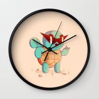 squirtle Wall Clocks featuring Squirtle by Daniel Mackey