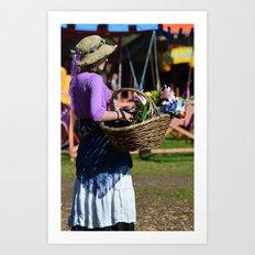 Flower Lady - Purple Art Print