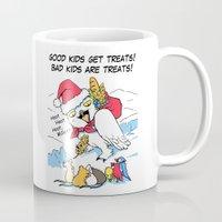 meme Mugs featuring Funny snowy owl santa meme by Bird gifts for bird folks