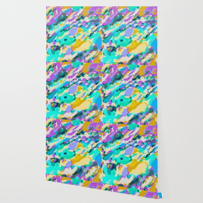 Camouflage Pattern Painting Abstract Background In Green Blue Purple Yellow Wallpaper