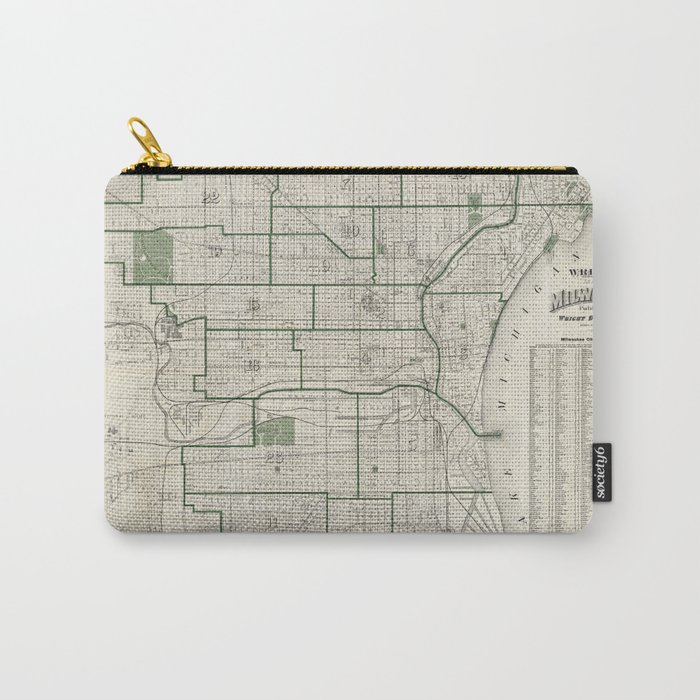 Vintage Map of Milwaukee Wisconsin (1909) Carry-All Pouch