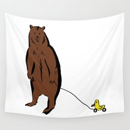 Brown Bear with Rubber Duck Wall Tapestry