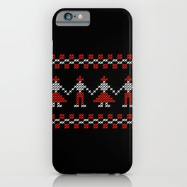 Traditional Hora people cross-stitch row black iPhone Case