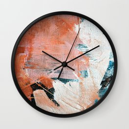 Interrupt [2]: a pretty minimal abstract acrylic piece in pink white and blue by Alyssa Hamilton Art Wall Clock