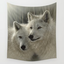 White Wolves - Sunlit Soulmates Wall Tapestry