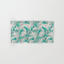 Drawing of tropical plants on turquoise Hand & Bath Towel