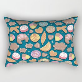 Mexican Sweet Bakery Frenzy // turquoise background // pastel colors pan dulce Rectangular Pillow