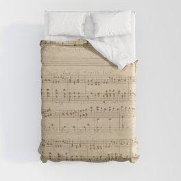vintage beige music notes Duvet Cover