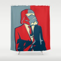 storm trooper Shower Curtains featuring Obama Storm Trooper -Star Wars by Terinas