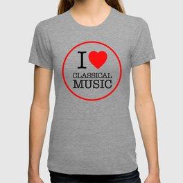 I Love Classical Music, circle T-shirt