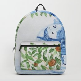 Blue and White Ginger Jar Orange Tree  Backpack
