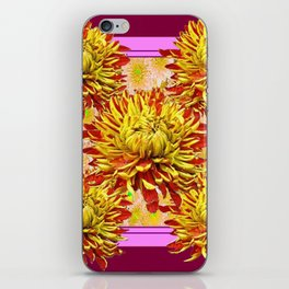 Stylized Abstracted Burgundy Yellow Chrysanthemums Floral iPhone Skin