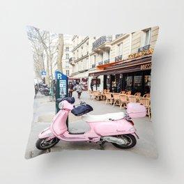 Paris Scooter Throw Pillow