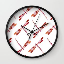 Watercolor Libellule - Red Palette Wall Clock