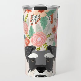 Schnauzer dog head floral background flower schnauzers pet portrait Travel Mug